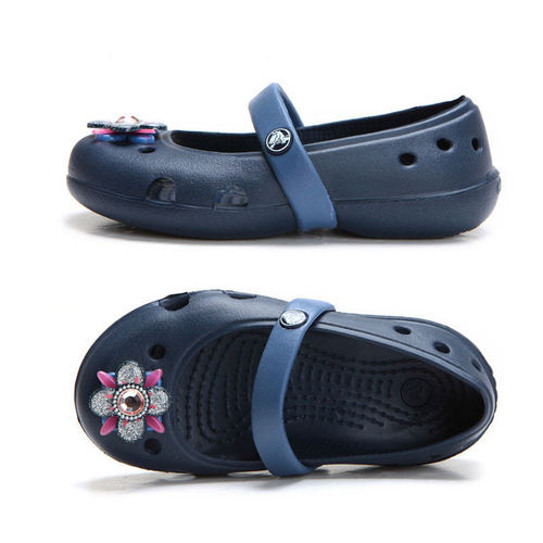 크록스 키즈 킬리 스프링타임 플랫 PS (CROCS KEELEY SPRINGTIME FLAT PS - NAVY/BIJOU BLUE) [202887-42T]